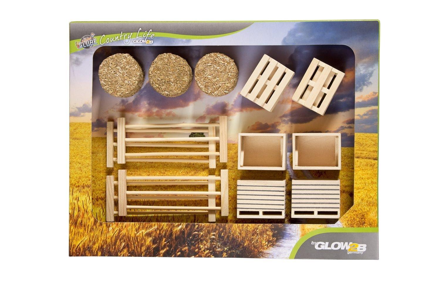 Niños Globe 1000579 - Conjunto de cajas, palets, paja y cercas, maquinaria agrícola, 17 piezas: Amazon.es: Juguetes y juegos