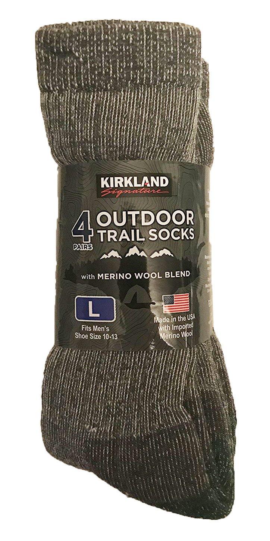 Kirkland Signature hombres de al aire libre Trail calcetines Merino mezcla de lana), varios colores, Azul, Verde