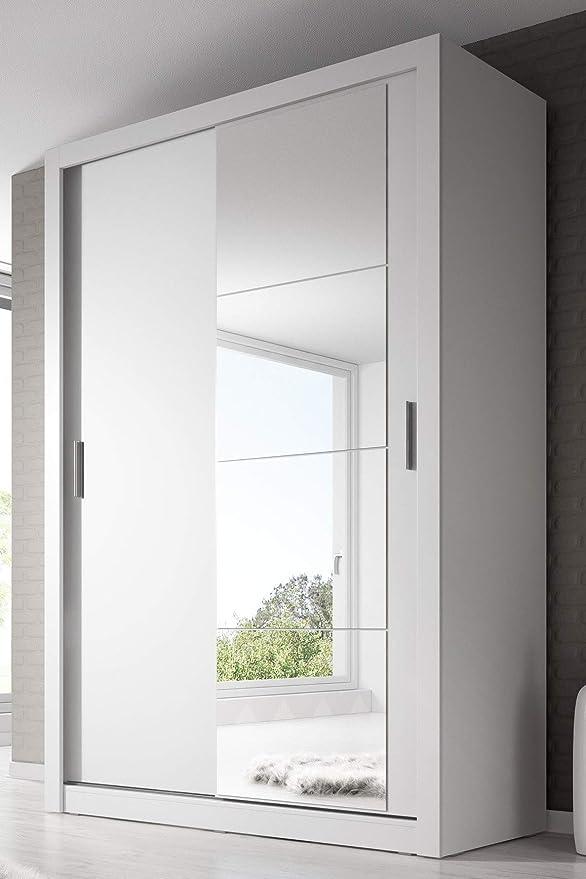 Arthauss – Guardarropa moderno con espejo en color blanco mate, puerta corredera, 150 cm.: Amazon.es: Hogar