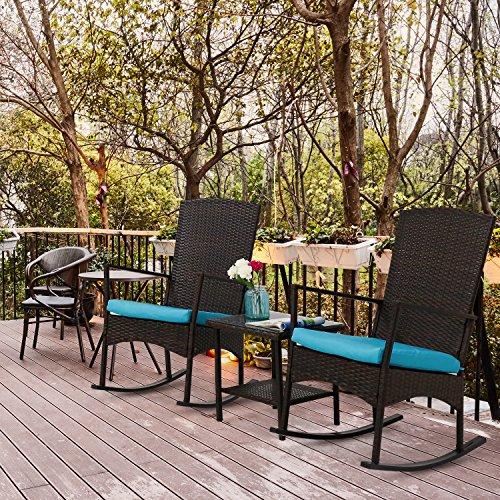 Kinbor 3PCS Outdoor Rattan Rocker Chair Side Tea Table Set Garden Rocking Wicker Lounge w/Removable Blue Cushion (Rocking Side Table)