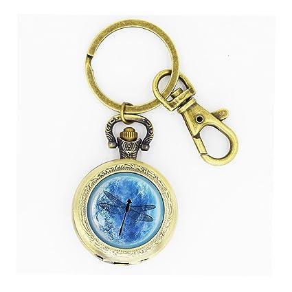 Amazon.com: Azul Libélula reloj de bolsillo llavero cabujón ...