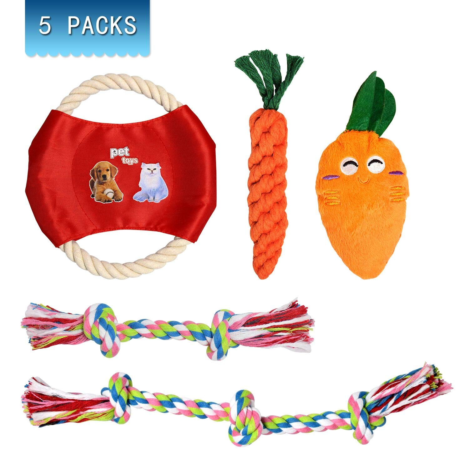 Puppy Chew Toys - Dog Rope Toys Set, Puppy Chew Durable Teething Cotton Toys Teeth Cleaning for Puppy Dogs