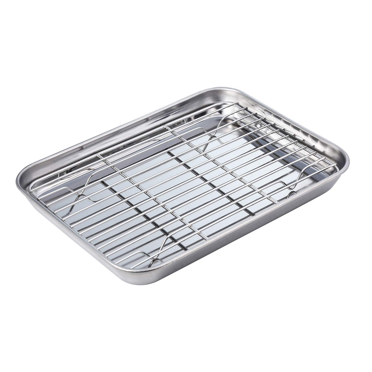 Baking Sheet with Rack Set, Stainless Steel Tray Cookie Sheet Toaster Oven Pan (Size 10 1/2 x 8 x 1 inch, Non Toxic & Healthy, Rust Free & Less Stick, Thick & Sturdy, Easy Clean & Dishwasher Safe)
