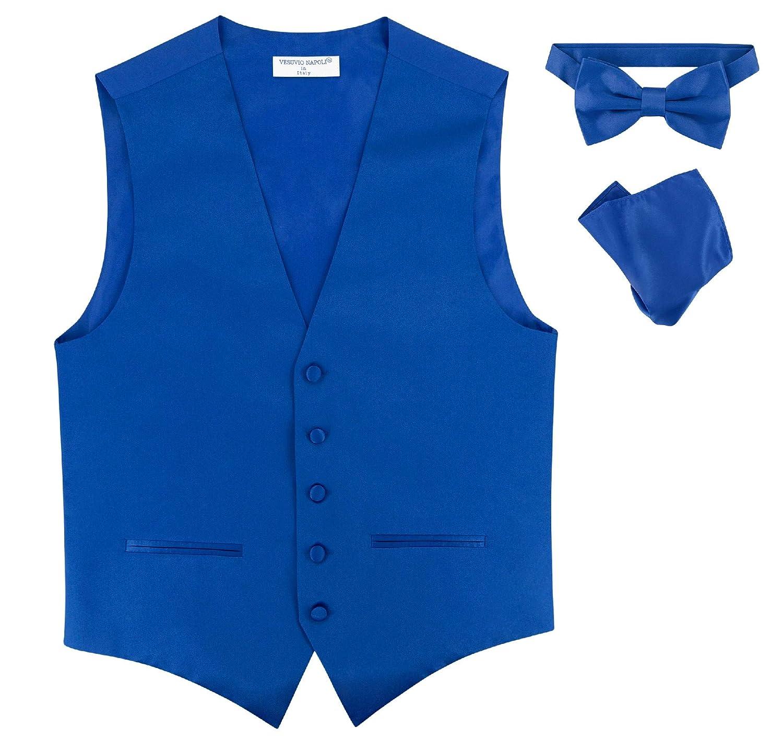 Mens Slim FIT Dress Vest Bowtie Solid Royal Blue Color Bow Tie Handkerchief Set