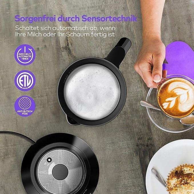 Espumador de leche Vava de acero inoxidable, espumador automático de leche de rizo para calentar leche, para leche fría y caliente, recipiente de leche extraíble y apto para lavavajillas, 550 W máx.