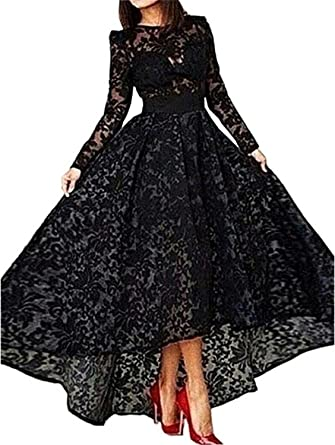 Sharon Womens Black Dress Lace Prom Dress Long Sleeve Evening Dresses Black 8