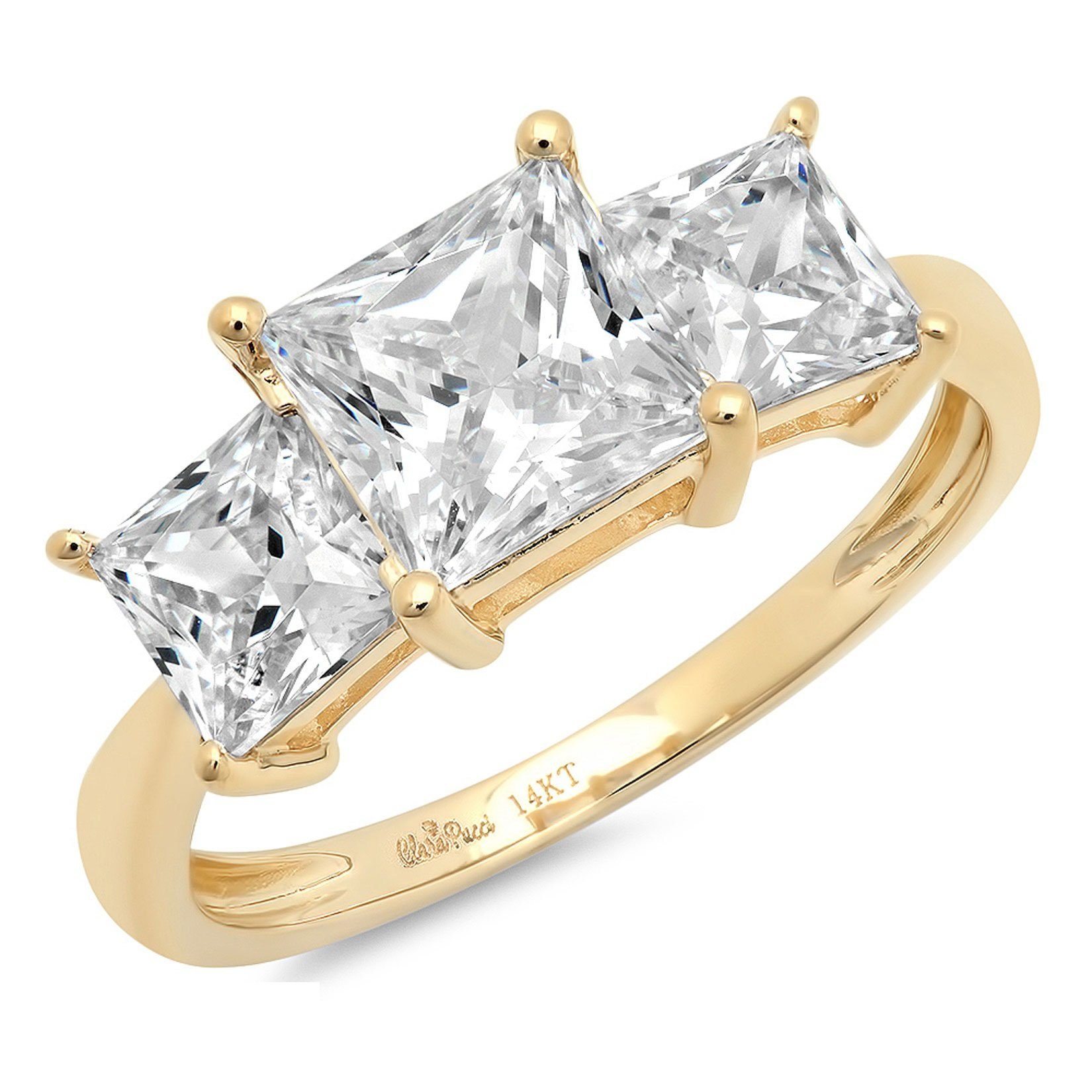 Clara Pucci 2.9 CT Three Stone Princess Cut Ring Engagement Wedding Band 14K Yellow Gold, Size 8