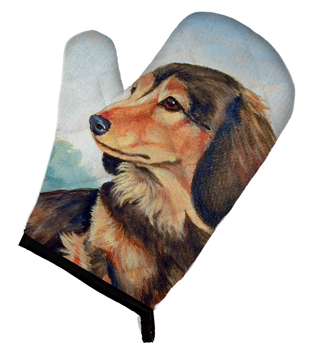 Caroline's Treasures 7023OVMT Long Hair Chocolate and Cream Dachshund Oven Mitt, Large, multicolor