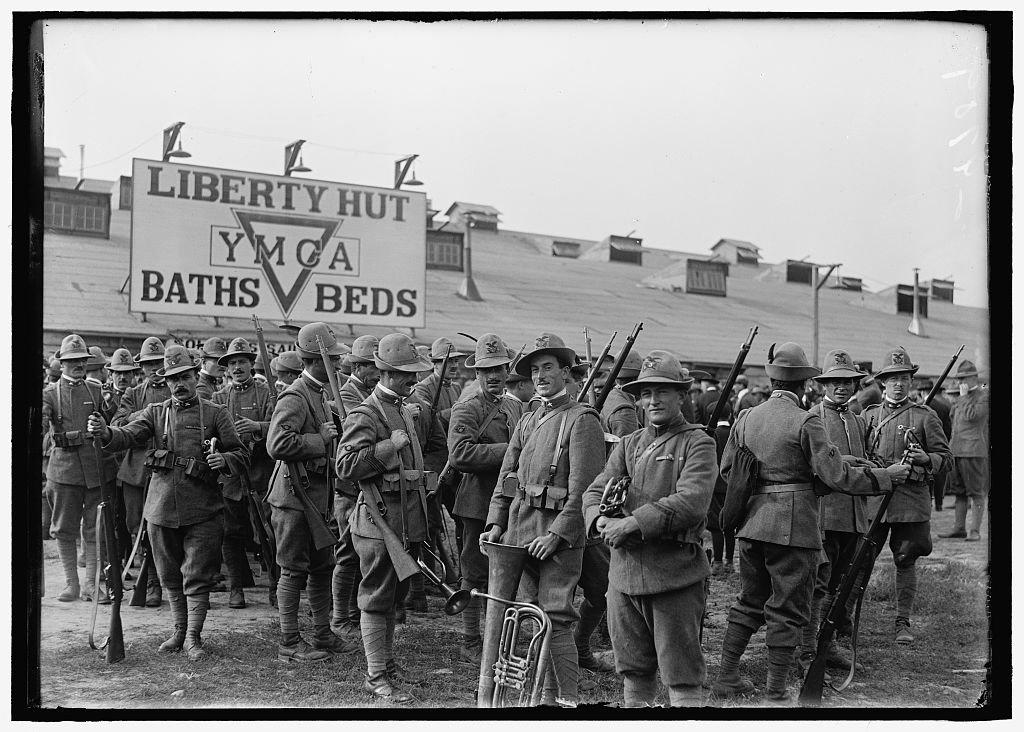 Vintography Reproduced 8 x 10 Photo Young Men's Christian Association. 'Liberty Hut;' Italian Band 1918 Harris & Ewing a31