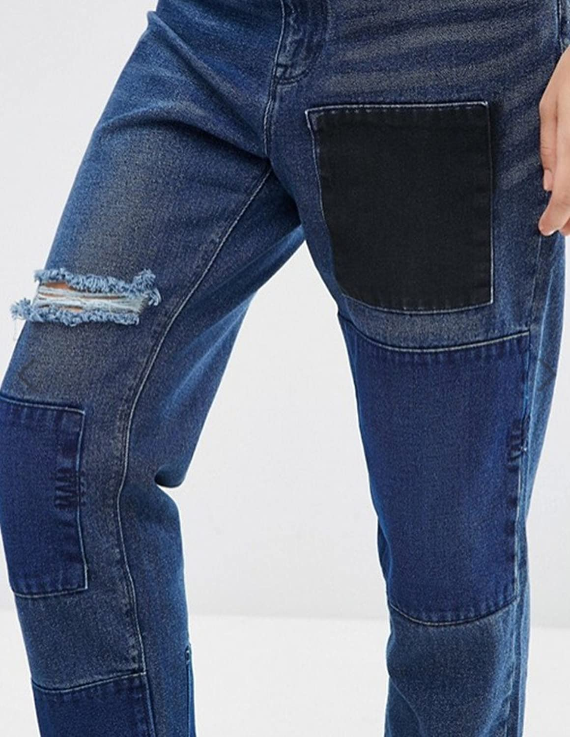 Women's Ripped Patches Distressed Loose Boyfriend Denim Jeans Dark Blue