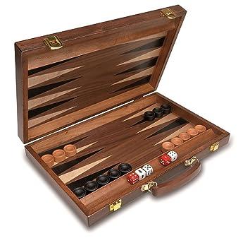 Juego De Mesa Backgammon De Lujo Con Maletin De Madera Natural 1604