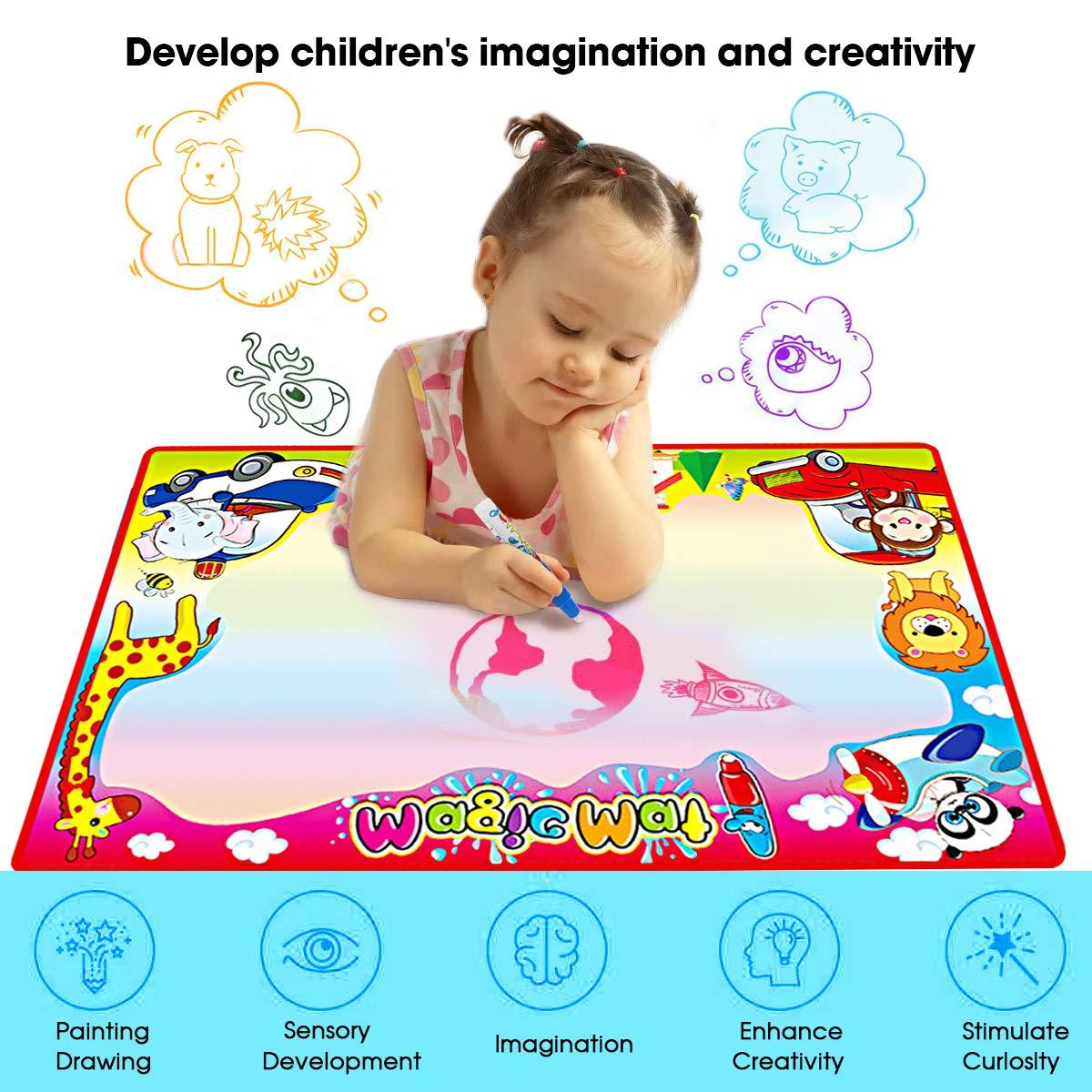 Rainbow 4 Couleur 87*58cm Tapis a Dessin Eau Enfant Eau Doodle Mat Tapis /à Dessiner FishOaky Tapis Aquadoodle Classique 3 Stylos /& 1 EVA Graphique /& 8 Timbres