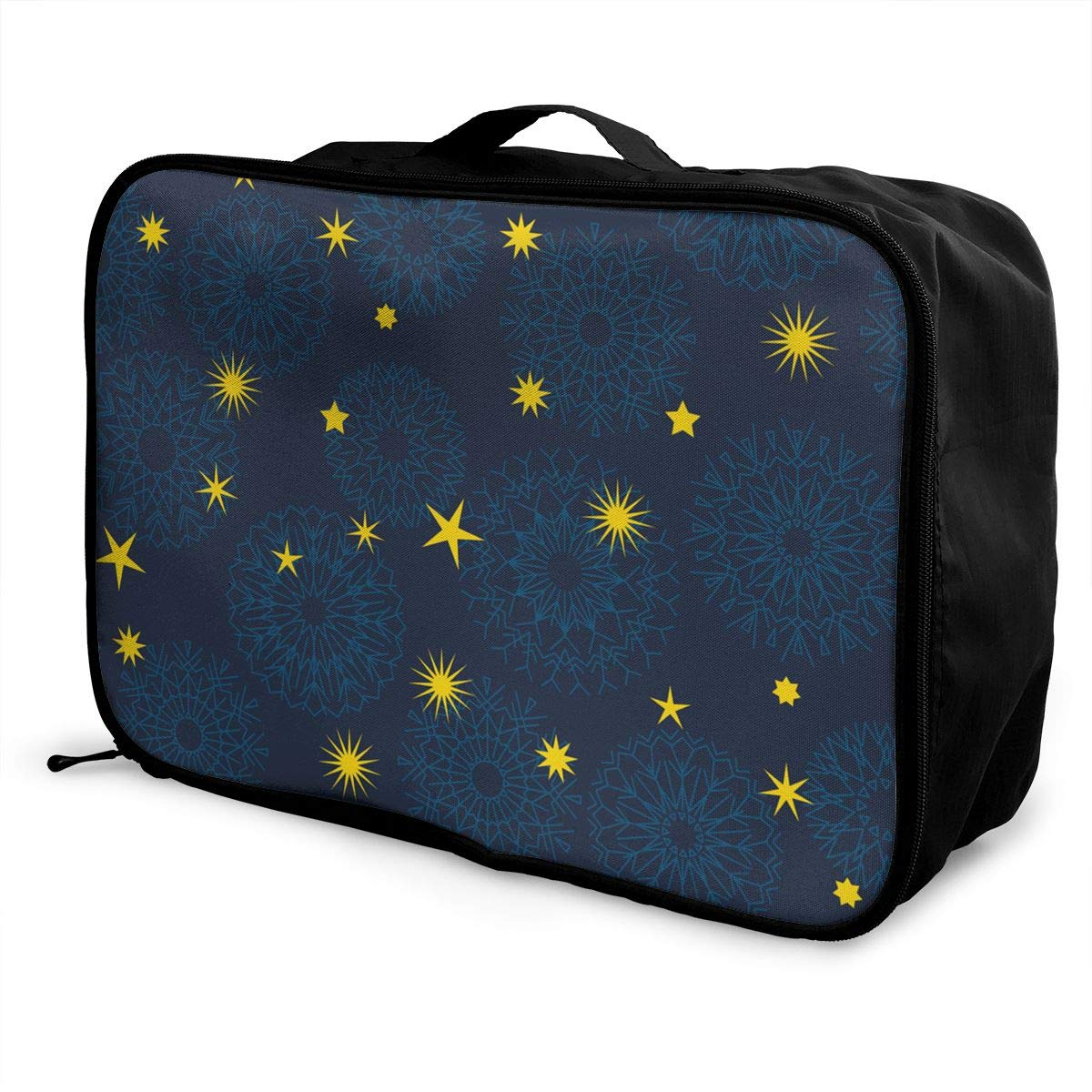 ADGAI Star and Snowflakes Simple Seamless Pattern Canvas Travel Weekender Bag,Fashion Custom Lightweight Large Capacity Portable Luggage Bag,Suitcase Trolley Bag