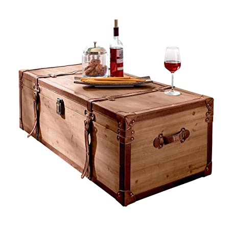 MiaVILLA Coffee Table Side Table Trunk Chest Box With Storage Wood Brown
