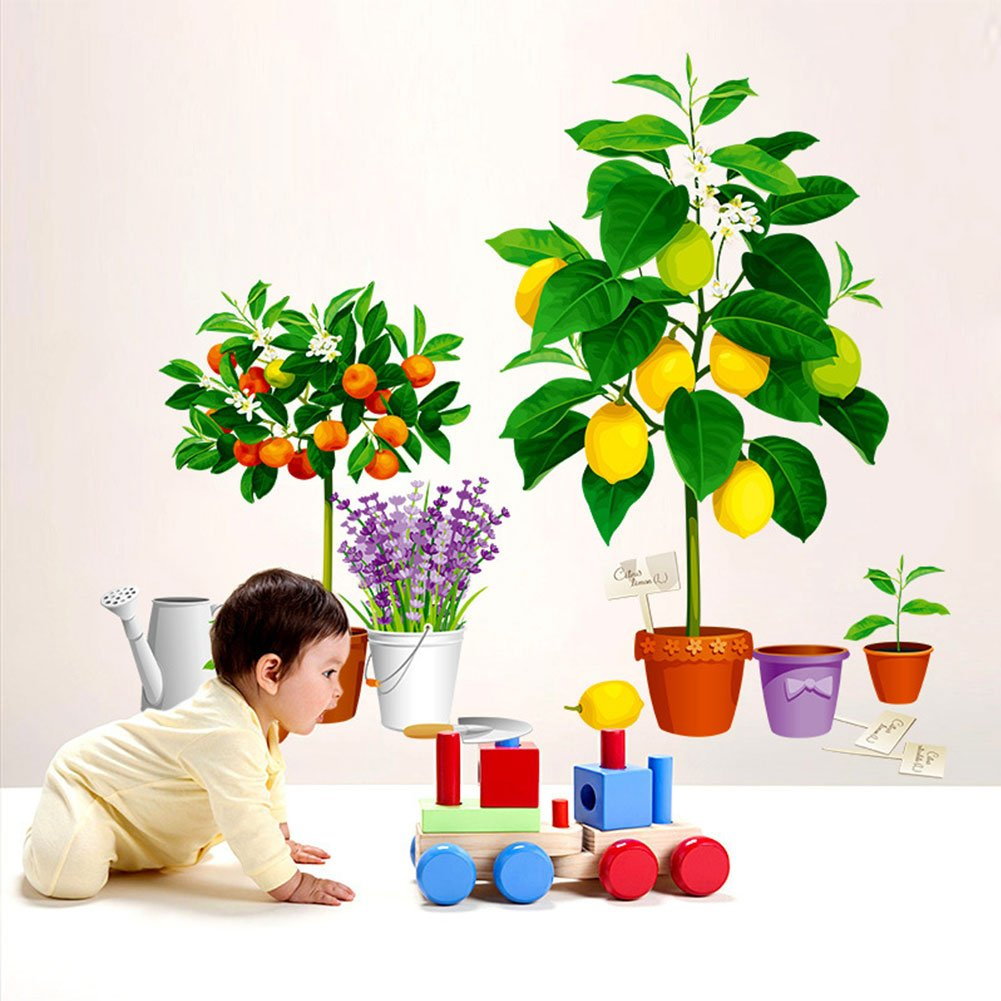 Wall Sticker Decal, Simulation Lemon/Orange Tree Self-Adhesive Potted Plant Wall Sticker Home Decors