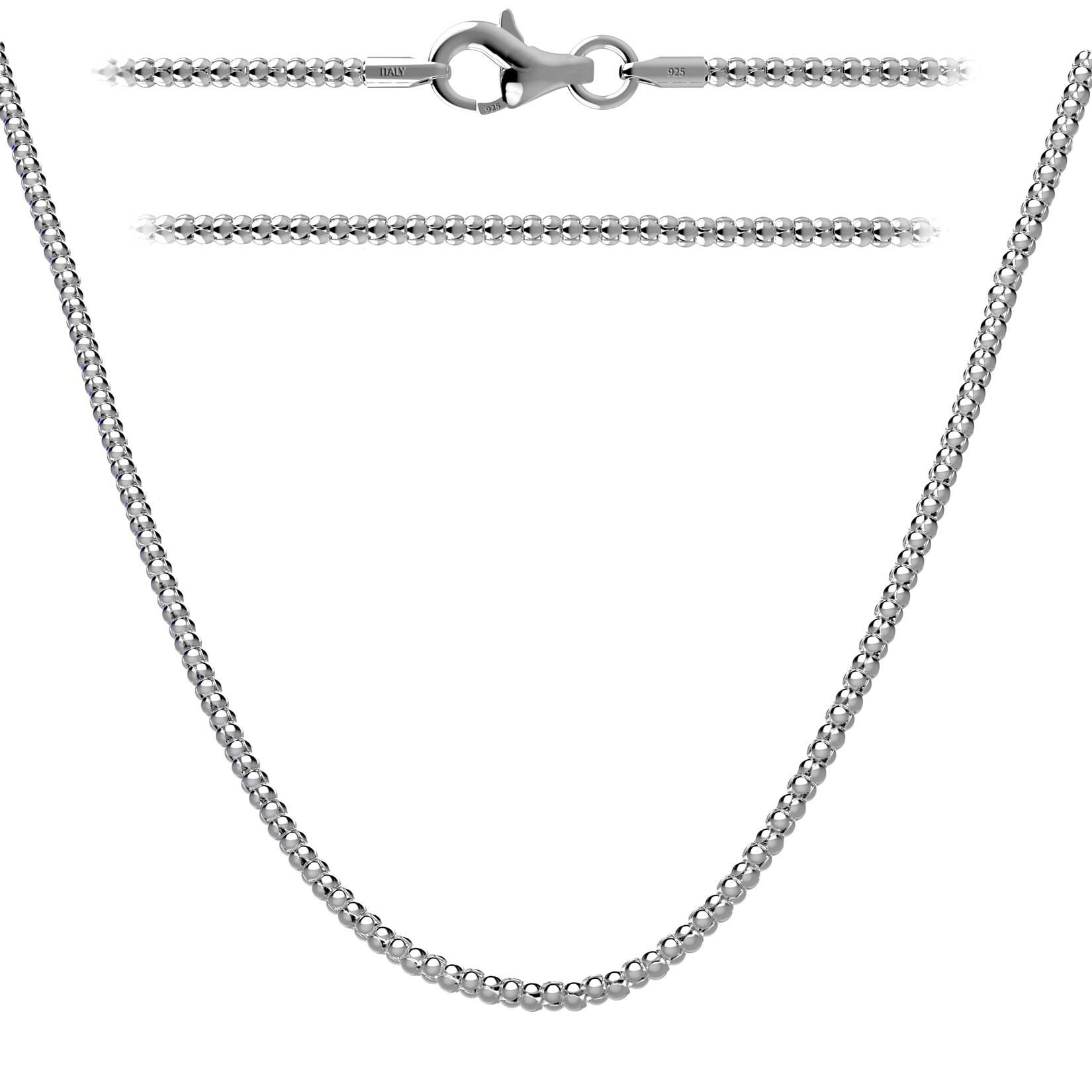 Kezef Solid 1.6mm Italian Sterling Silver Popcorn Chain Necklace 20'' in with Lobster Clasp Closure