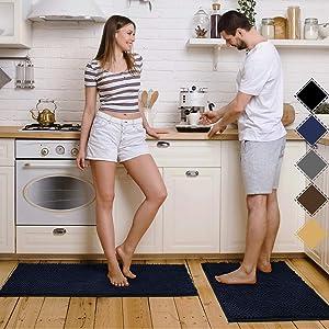 Pretigo Kitchen Rug Sets - Rugs for Kitchen Floor Washable,Non-Slip Soft Kitchen Mat Set,Chenille Microfiber Material, Super Absorbent (Navy)