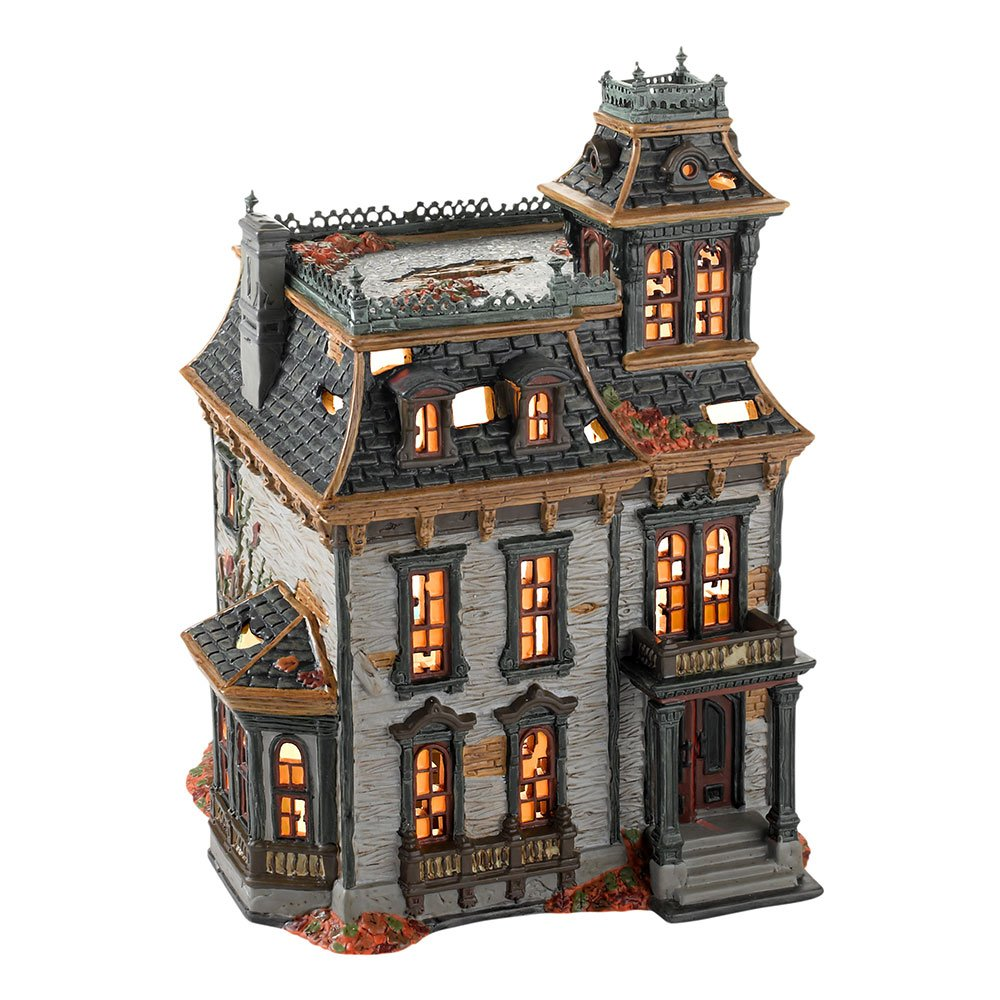 Department 56 Snow Village Halloween Mordecai Mansion Lit House, 10.63 inch