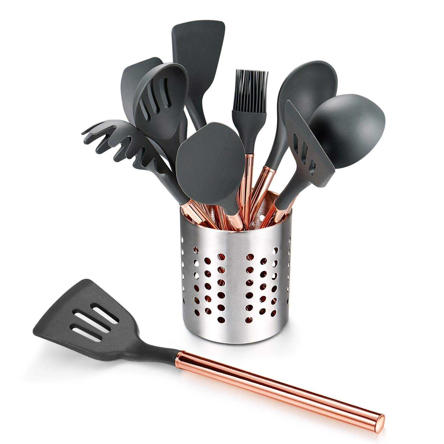 Rose Gold 10 Peice Silicone Kitchen Cooking Utensils Set