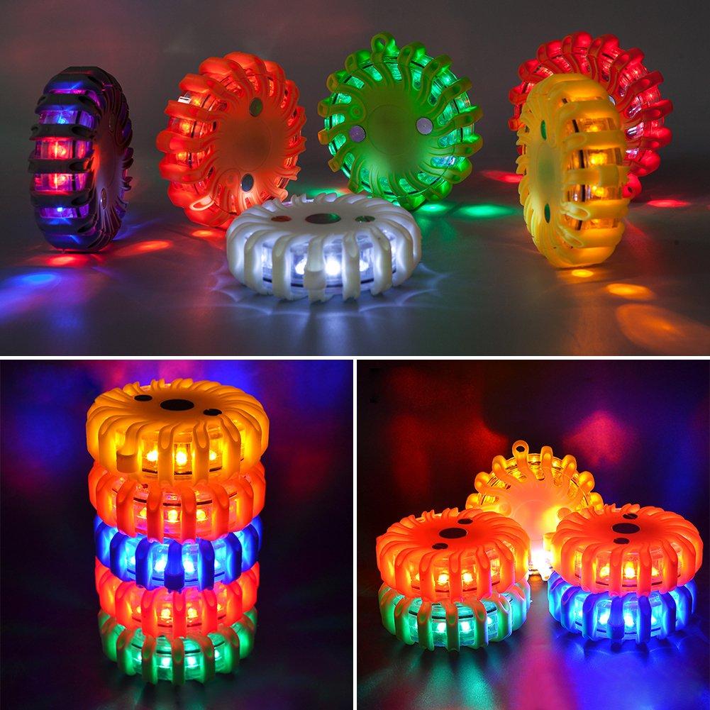 rot LED Warnleuchte Warnblitzer mit Magnetisch f/ür auto notfall pannenhilfe inklusive Akku und Ladeger/ät
