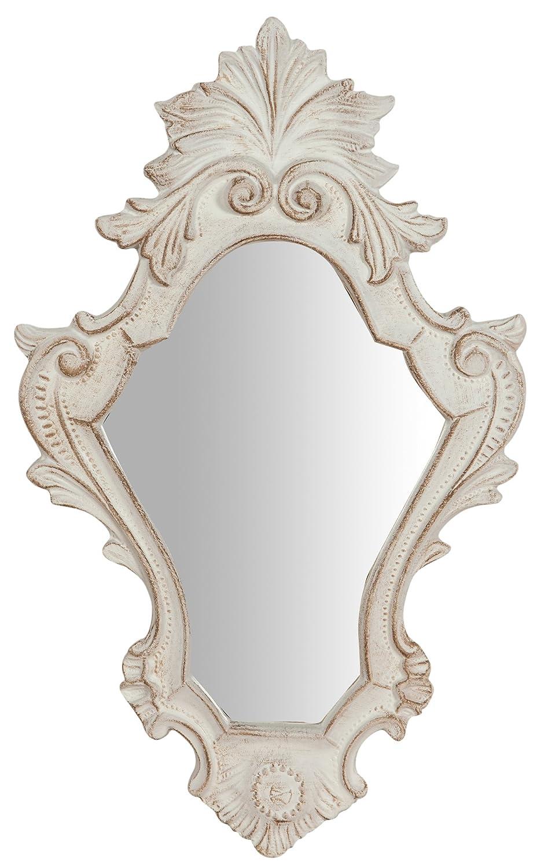 Specchio Specchiera da parete in legno finitura bianco anticato Made in Italy L25xPR2, 5xH40 cm BISCOTTINI
