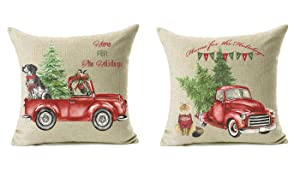 18x18 Christmas Throw Pillow Covers Set of 2, Decorative Farmhouse Outdoor Merry Christmas Xmas Cushion Lumbar Pillow Shams Cover Cases Red Truck Tree Dog Cat Couch Sofa