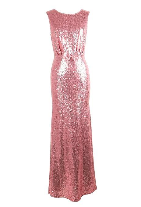 Gladiolus Donna Paillettes Vestito Lunghe Formale Cerimonia Vestito da Sera  Abito Lungo Senza Maniche Rosa S ce478ee84a3
