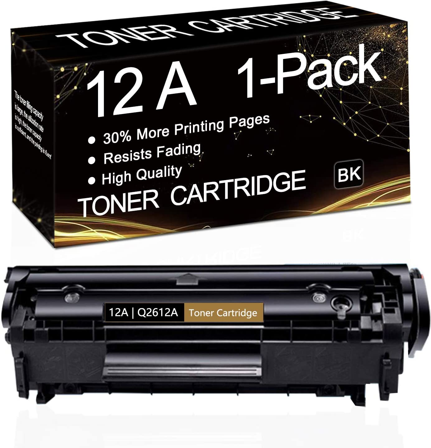 1-Pack (Black) 12A | Q2612A Compatible Toner Cartridge Replacement for HP Laserjet 1020 1022 1022n 1022nw 1010 1012 1015 1018 Printer,Sold by SinaToner.