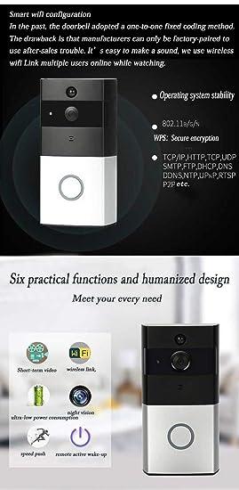 Amazon.com: Jitejoe - Timbre de vídeo con WiFi habilitado en ...