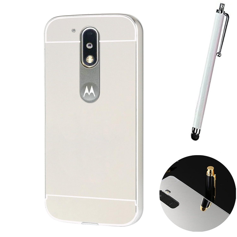 LXHGrowH Funda Espejo Aluminio Metal Carcasa para Motorola Moto G4 / G4 Plus Color Plata