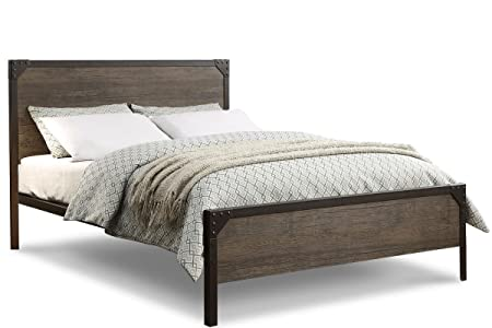 Marlow Rustic Industrial Wood Panel Style Metal Bed Frame  Double, King Size  (Double