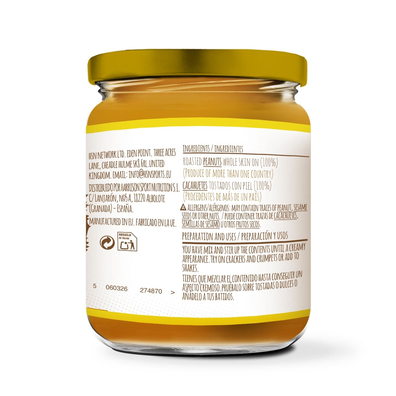 HSN Foods - Mantequilla de Cacahuete con Textura Crujiente - 100% Natural - Peanut Butter Crunchy - Apto Vegetariano - Sin grasa de palma - Sin grasa trans ...