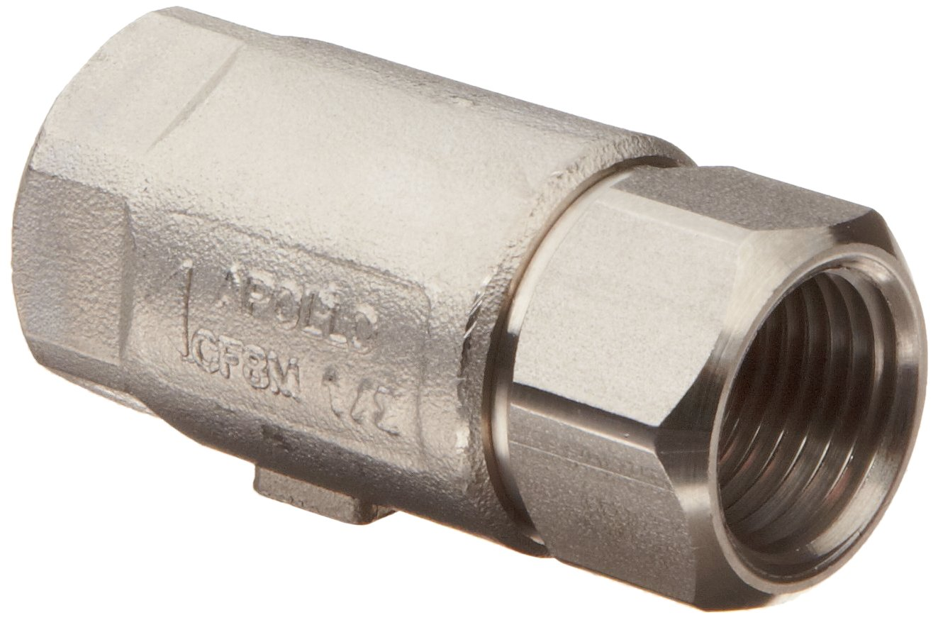 Apollo 62-100 Series Stainless Steel Check Valve, Ball Cone, 1'' NPT Female