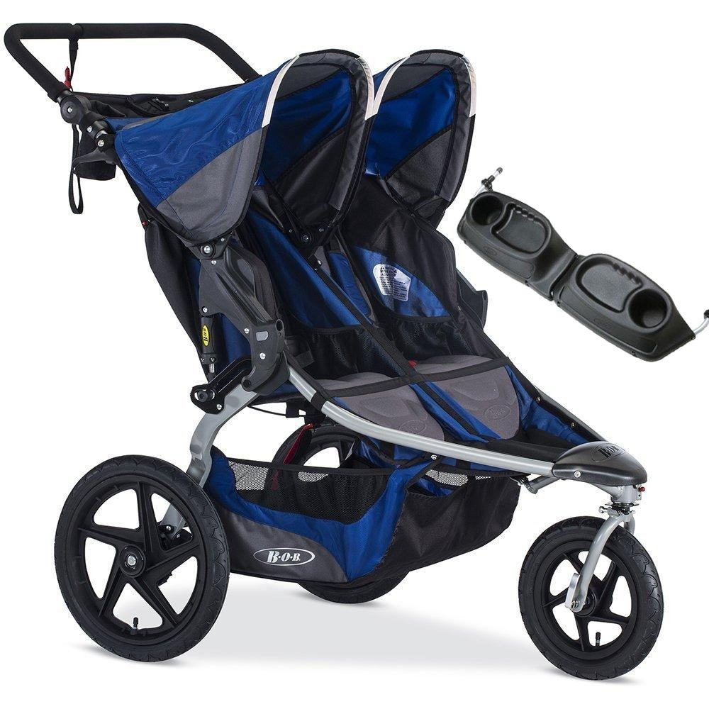 BOB Blue Stroller Strides Duallie Stroller with FREE Stylish Diaper Bag