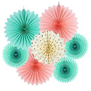 SUNBEAUTY Tissue Paper Fans Decorations Kit Wedding Bridal Shower Baby Shower Birthday Decoration Hanging Paper Honeycomb Decoration, Cream Mint Green Rose Pink 7pcs