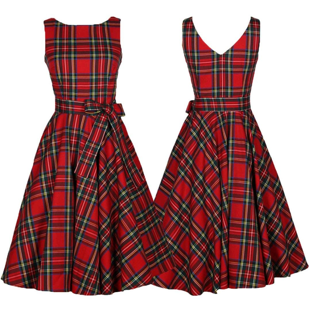 XILALU Women Vintage Floral Bodycon Plaid Sleeveless Casual Evening Party Dress Red)