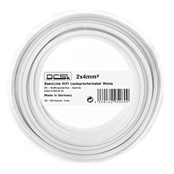 2 x 4 mm² 10m I Cable de Altavoz Blanco DCSk I Cable de Cobre OFC