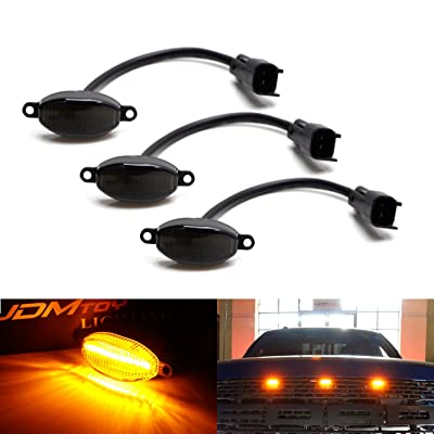 iJDMTOY 75-123-Smoked-Amber 3pc Dark Smoked Lens Amber Full Front Grille Driving Light Kit for 2010-14 & 2020-up Ford Raptor (Powered by 36 Pieces of SMD LED Diodes): Automotive