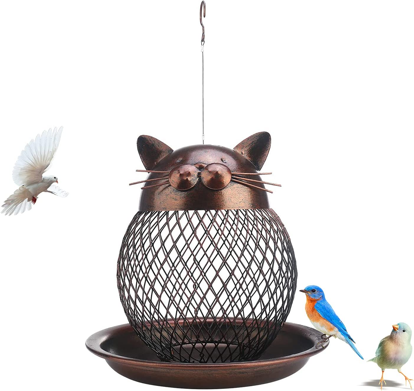 Bird Feeder for Outside Heavy Duty Metal Wild Bird Feeders with Drainage Holes Squirrel Proof Bird Feeder Unique Cat Shaped Bird Feeders Hanging for Outdoor Garden Yard Balcony Decoration