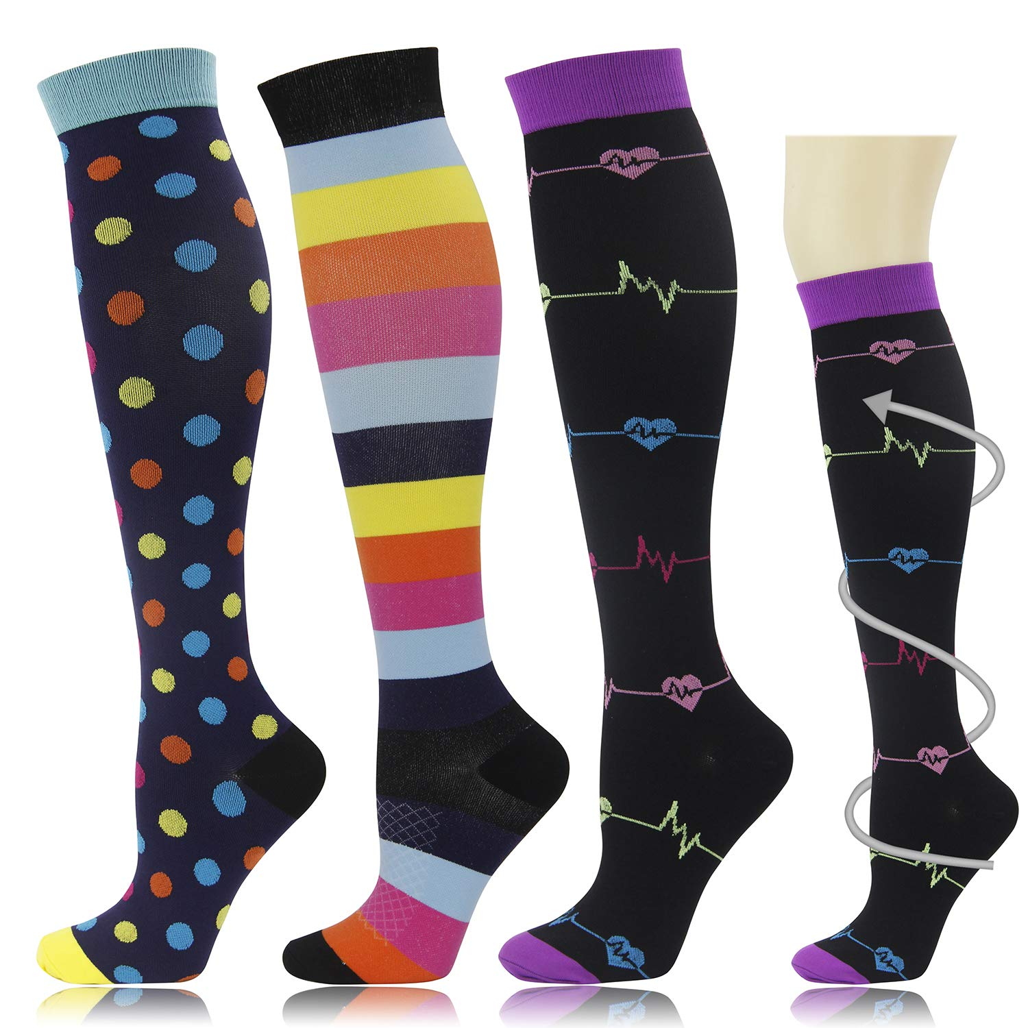 3 Pairs Graduated Medical Compression Socks for Women Men 20-30mmhg Knee High Fun Stockings for Running Sports Athletic Nurse Travel Pregnancy Swelling (S/M)