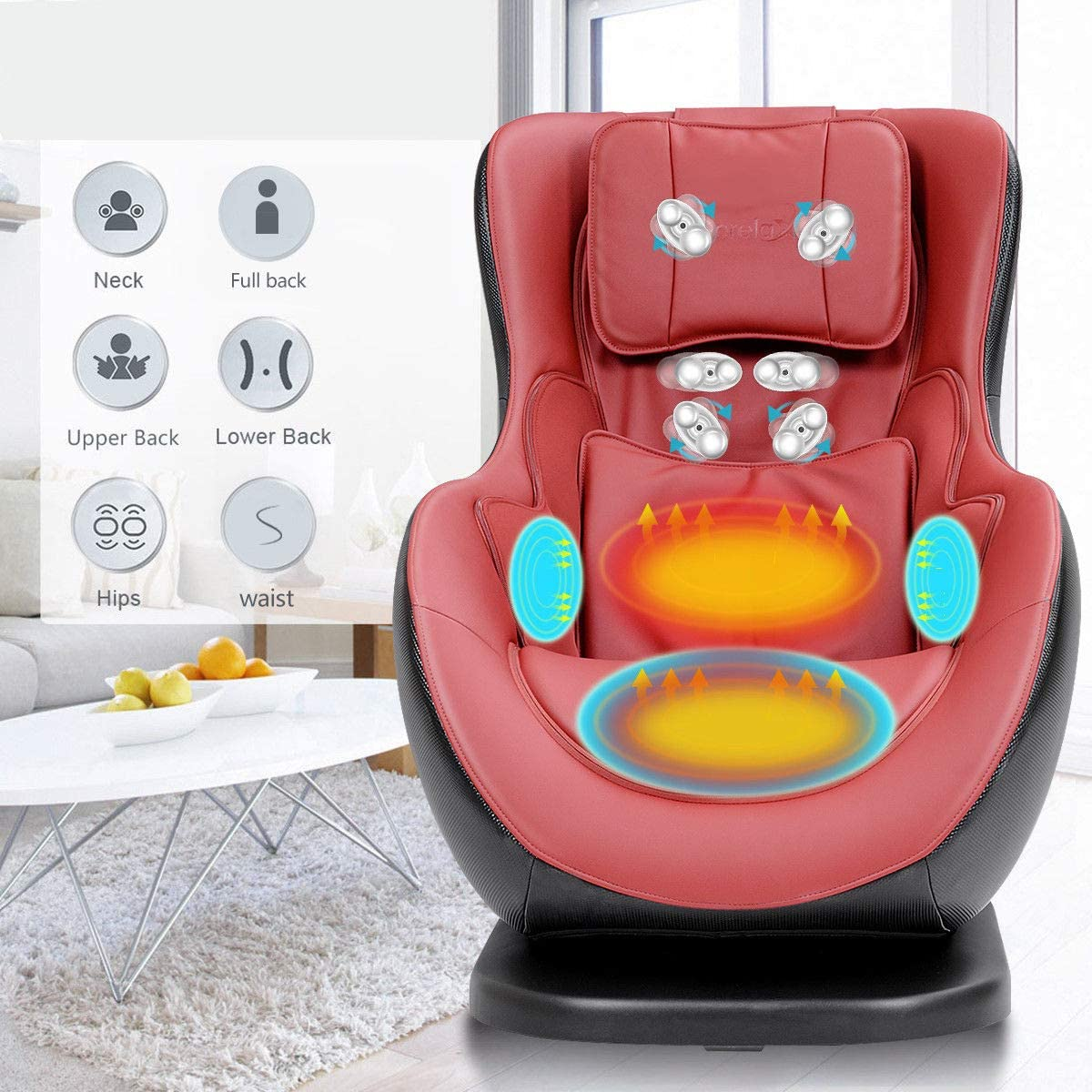 Giantex Leisure Curved Massage Chair Shiatsu Massage with Heating Therapy Video Gaming Chair, with Wireless Bluetooth Speaker and USB Charger for Home.