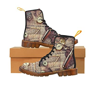 Shoes Vintage Compass On World Map Lace Up Martin Boots For Men