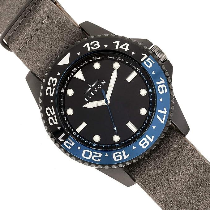 5c00cbbb6 Amazon.com: Elevon Dumont Men's Brown Leather Band Silver Watch ELE108-2:  Watches