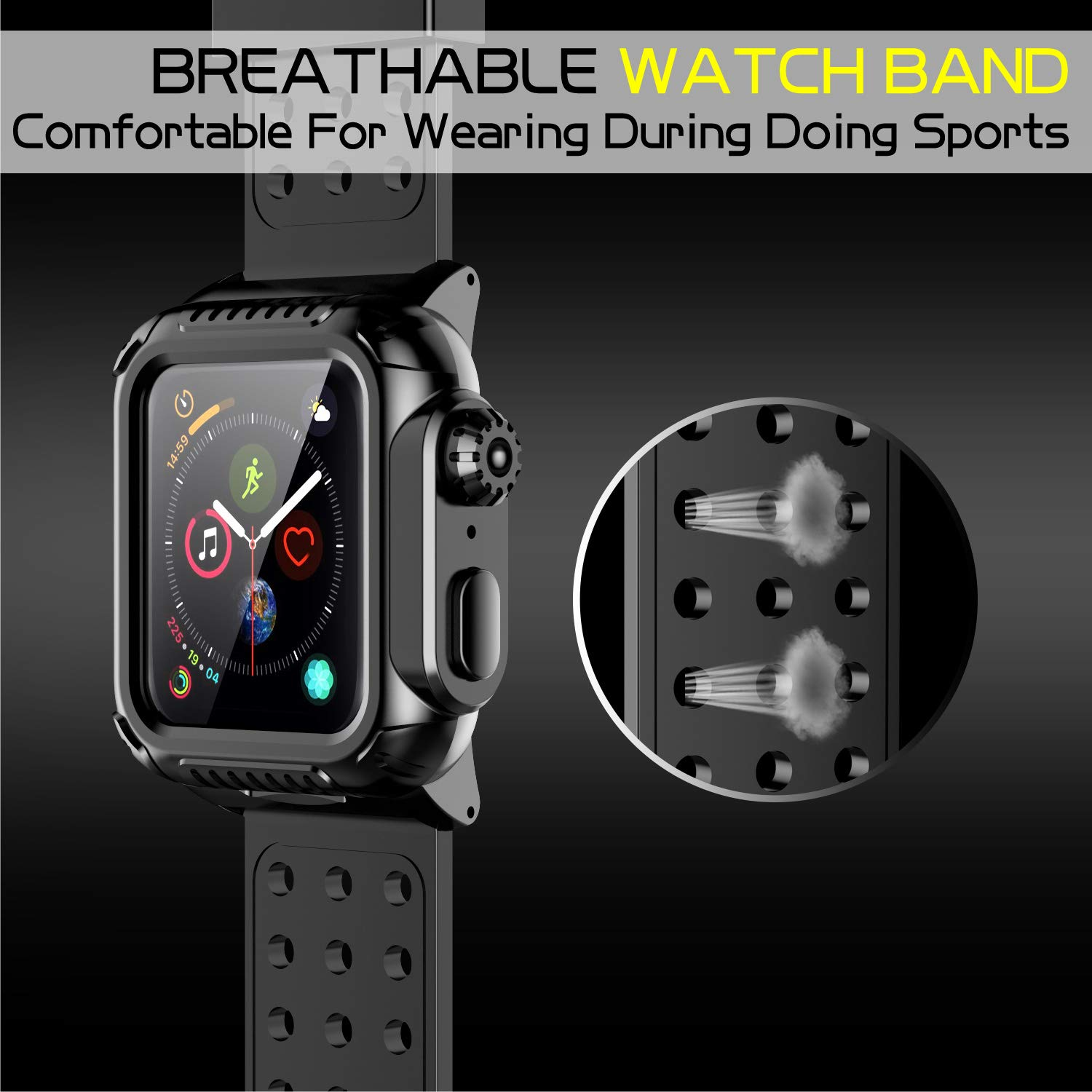 Apple Watch 4 Case Band 44mm 2018, SPIDERCASE 360° Rugged Case with Strap Band, Built-in Screen Protector Full Body Cover Case for Apple Watch Series 4 44mm ONLY, Anti-Scratch, Shockproof and More by SPIDERCASE (Image #6)