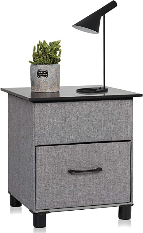 Amazon Com Uhstorage Nightstand Bedside Tables With Drawer Storage Modern Side End Table Fabric Drawer Folding Storage Furniture For Bedroom And Livingroom 2nd Generation Black Lid And Gray Kitchen Dining