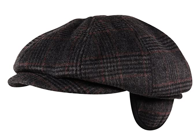 Luxury Brushed Wool Flannel 8 Panel Flat Cap Hat Ear Flap Baker Boy Tweed  Check Charcoal fbba1a780c8