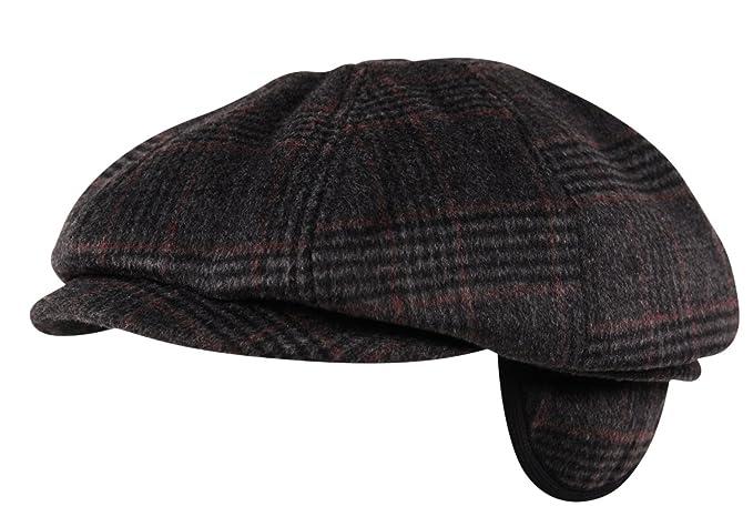 Luxury Brushed Wool Flannel 8 Panel Flat Cap Hat Ear Flap Baker Boy Tweed  Check Charcoal 7cf5dc6d92c