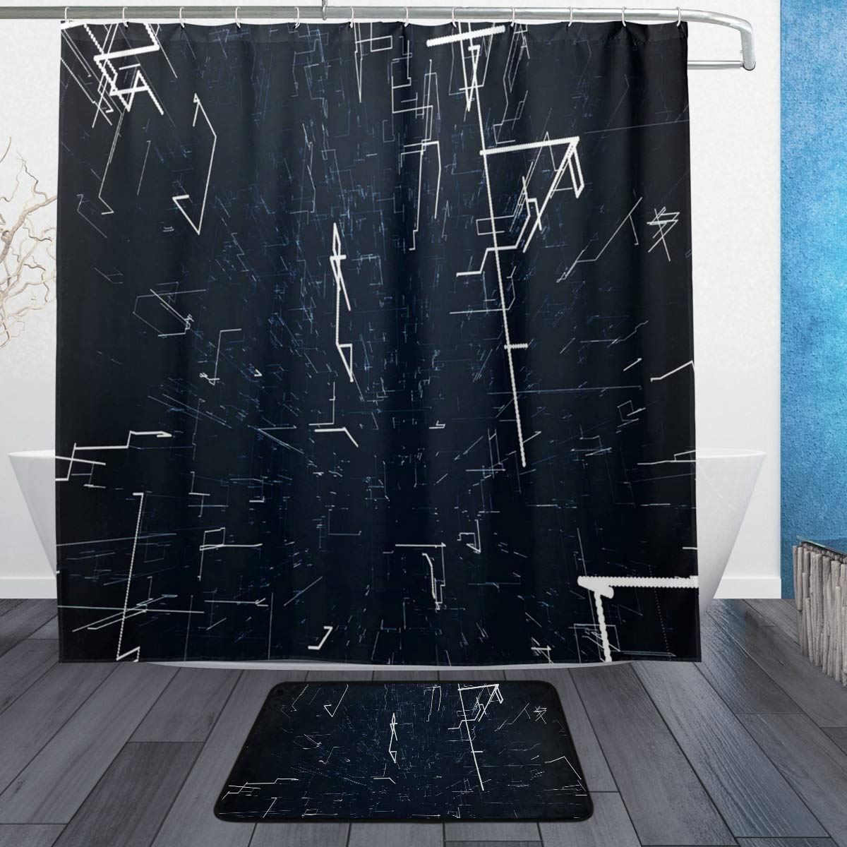CANCAKA Motion Graphic Black Techno Shower Curtain Set with Hooks for College Dorm, Master Bathroom 66'' x 72''