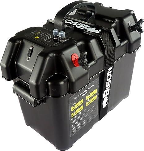 Bison Caja portabatería con cargador USB, medidor LED, interruptor ...