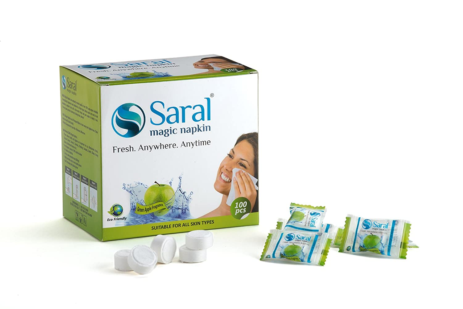 Saral Magic Tablet Napkin -100 Pieces - Green Apple